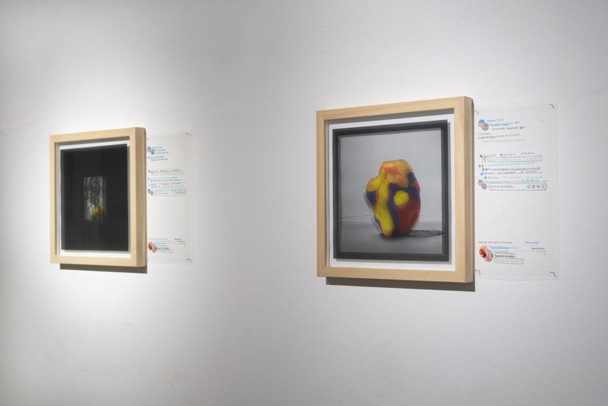 Tatiana Villani, Autoritratto 1 marzo 2016 e Autoritratto 4 febbraio 2009, mixed media, 42 x 29.7 cm, 2018. Foto di Dania Gennai.