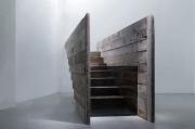 """Andrea Santarlasci, """"Sotto di noi, immobile, scende il tempo dell'acqua"""", 2015nstallazione, legno, vetro, resina, ferro, specchio e acqua, 135 x 464 x 82 cm"""